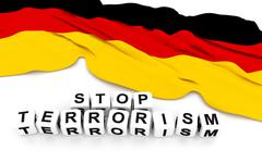 Germany flag and write stop terrorism. 3D rendering. Stock Illustration