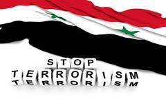 Syria flag and write stop terrorism. 3D rendering. Stock Illustration