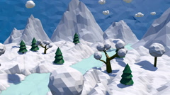 3d low poly winter landscape Stock Footage