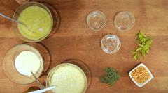 Yogurt soup in colors Parsley kosbera Stock Footage