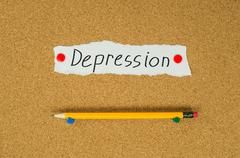 Depression text note message pin on bulletin board Stock Photos