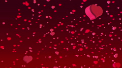 Red 3d hearts flying Stock Footage