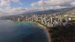 Aerial Waikiki bay Kalkaua Avenue, Hawaii Arkistovideo