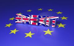 The text symbolize GB leaving EU. 3D rendering Stock Illustration