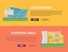 Shopping Mall Web Templates in Flat Design Stock Illustration