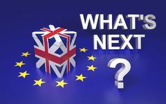 The illustration symbolize GB leaving EU voting. Text written What's next. 3D Stock Photos