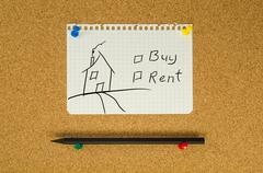Buy or rent text note message pin on bulletin board Stock Photos