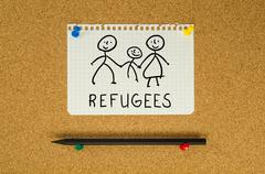 Refugees text note message pin on bulletin board Stock Photos