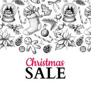 Christmas sale banner. Vector hand drawn illustration. Xmas plants and symbol Stock Illustration