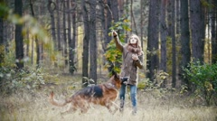 Young attractive woman with red hair playing with her pet - german shepherd - Stock Footage