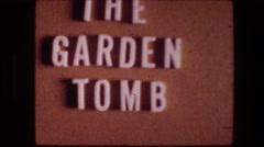 "1976: marker identifying ""the garden tomb."" GARDEN TOMB JERUSALEM ISRAEL Stock Footage"