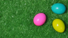 Colorful easter eggs on green grass Stock Footage