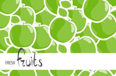 Juicy green apples Stock Illustration