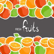 Bright apples and oranges Stock Illustration