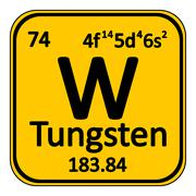Periodic table element tungsten icon. Stock Illustration