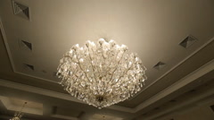 Gorgeous crystal chandelier made in form of tree branches Stock Footage