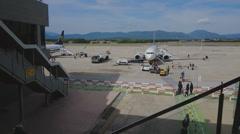 Barcelona, Spain Girona Costa Brava Barcelona airport. Stock Footage