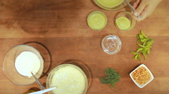 Yogurt soup colors in colors Stock Footage