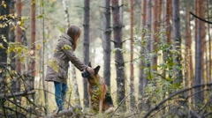 Young pretty cute woman walking in autumn forest with her pet - german shepherd Stock Footage