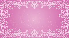 Growing floral frame and Glitter animation - pink color Stock Footage