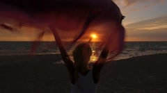 Free Happy Woman at Sunset on Beach on Vacation Stock Footage