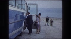1976: people getting ready to board the bus to sight see. MASADA ISRAEL Stock Footage