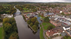 Aerial reveal of Stourport-on-Severn. Stock Footage