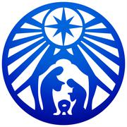 Holy family Christian silhouette icon vector illustration blue on white Piirros
