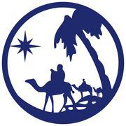 Adoration of the Magi silhouette icon vector illustration blue on white Stock Illustration