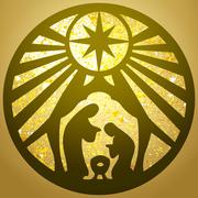 Holy family Christian silhouette icon vector illustration gold  background Stock Illustration
