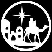 Adoration of the Magi silhouette icon vector illustration white on black Stock Illustration