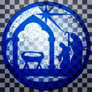 Adoration of the Magi silhouette icon vector illustration blue on gray Stock Illustration