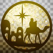 Adoration of the Magi silhouette icon vector illustration gold on gray Stock Illustration