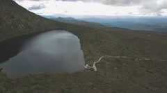 Forward flight over Lake Esperance, Hartz Mountains Park, Tasmania Stock Footage