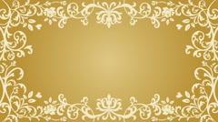 Growing floral frame - Golden color Stock Footage