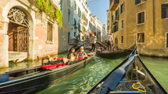 In gondola on the canals of Venice, Italy Stock Footage