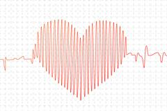 Red cardiogram graph in heart shape Stock Illustration