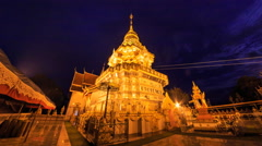 Wat PhraThat Doi Saket Landmark Temple Of Chiang Mai, Thailand (Night To Day) Stock Footage
