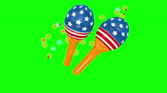 Maracas with a stars and stripes design on green background. Stock Footage