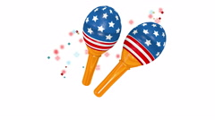 Maracas with a stars and stripes design on white background. Stock Footage