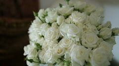 Rich wedding bouquet made of white roses Stock Footage