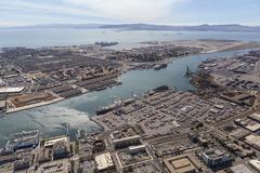 Alameda Island and the Port of Oakland Aerial Kuvituskuvat