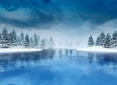 Frozen lough with trees and cloudy sky Stock Illustration