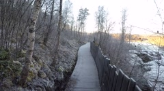 Wandering on cold frost covered wooden walkway with brown leaves in early autumn Stock Footage