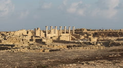 Ancient ruins of Kato Pafos archeological site, Paphos, Cyprus Stock Footage