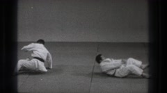 1971: karate match getting ready to take place. TOKYO JAPAN Stock Footage
