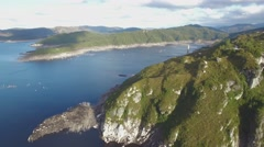 Round aerial pan above Lake Gordon in Tasmania, Australia Stock Footage