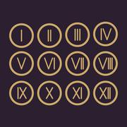 Set Roman numerals 1-12 icon Stock Illustration