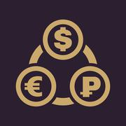 The currency exchange dollar, euro, ruble icon. Cash and money, wealth, payment Piirros