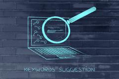 Laptop progressing tags for content, keywords suggesting tools Stock Illustration